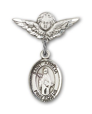Pin Badge with St. Amelia Charm and Angel with Smaller Wings Badge Pin - Silver tone