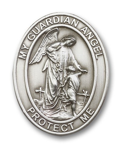 Oval Guardian Angel Visor Clip - Antique Silver