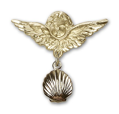 Baby Pin with Shell Charm and Angel with Larger Wings Badge Pin - 14K Solid Gold