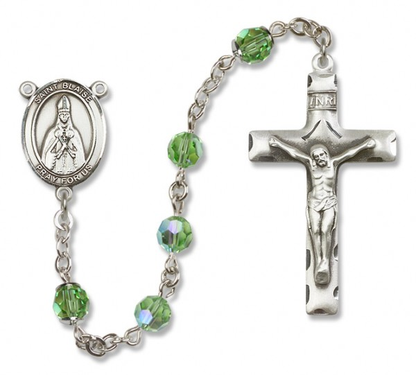 St. Blaise Sterling Silver Heirloom Rosary Squared Crucifix - Peridot