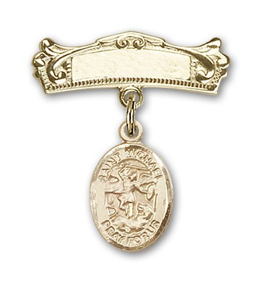 Pin Badge with St. Michael the Archangel Charm and Arched Polished Engravable Badge Pin - Gold Tone