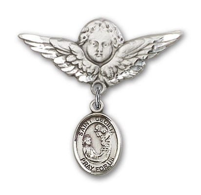 Pin Badge with St. Cecilia Charm and Angel with Larger Wings Badge Pin - Silver tone