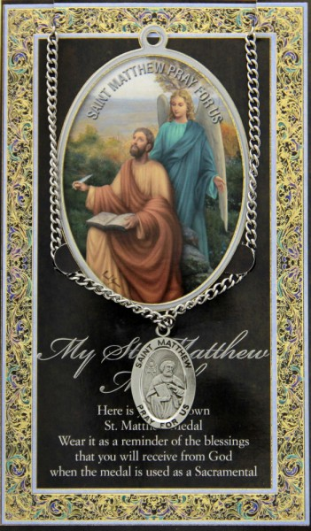 St. Matthew Medal in Pewter with Bi-Fold Prayer Card - Silver tone