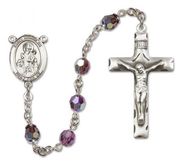 St. Nathanael Sterling Silver Heirloom Rosary Squared Crucifix - Amethyst