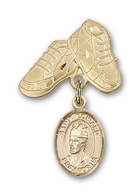 Pin Badge with St. Edward the Confessor Charm and Baby Boots Pin - Gold Tone