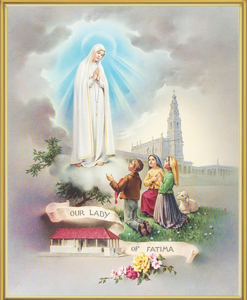 Our Lady of Fatima Gold Framed Print - Full Color