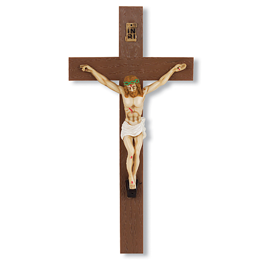 Italian Plastic Crucifix - 8 inch - Brown