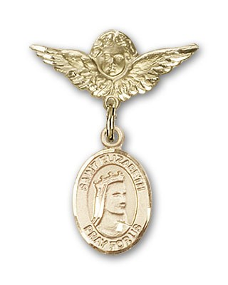 Pin Badge with St. Elizabeth of Hungary Charm and Angel with Smaller Wings Badge Pin - 14K Solid Gold
