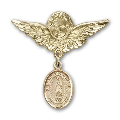 Pin Badge with Our Lady of Guadalupe Charm and Angel with Larger Wings Badge Pin - 14K Yellow Gold