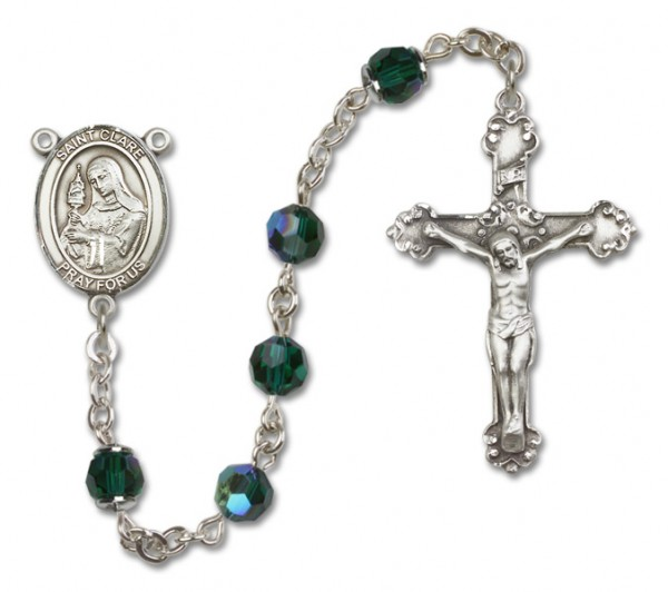 St. Clare of Assisi Sterling Silver Heirloom Rosary Fancy Crucifix - Emerald Green