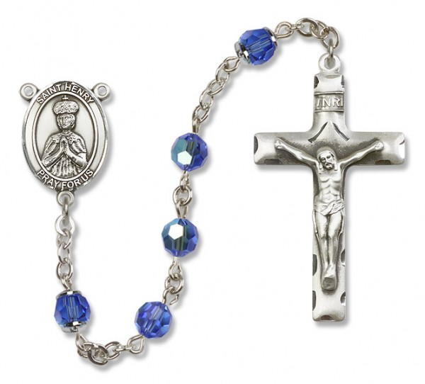 St. Henry II Sterling Silver Heirloom Rosary Squared Crucifix - Sapphire