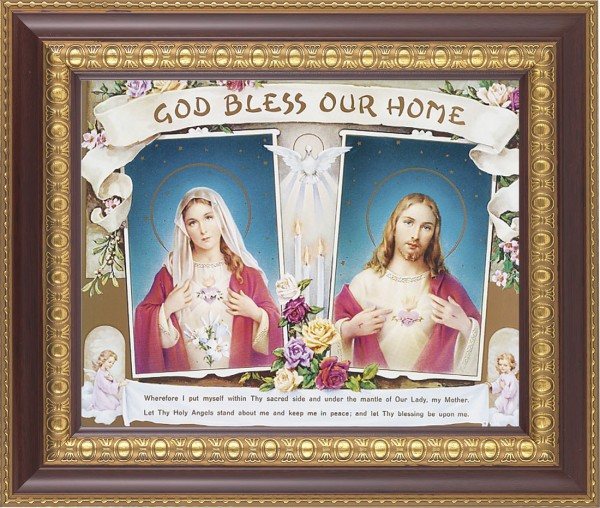 God Bless Our Home Sacred Heart and Immaculate Heart Framed Print - #126 Frame
