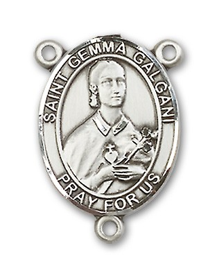 St. Gemma Galgani Rosary Centerpiece Sterling Silver or Pewter - Sterling Silver