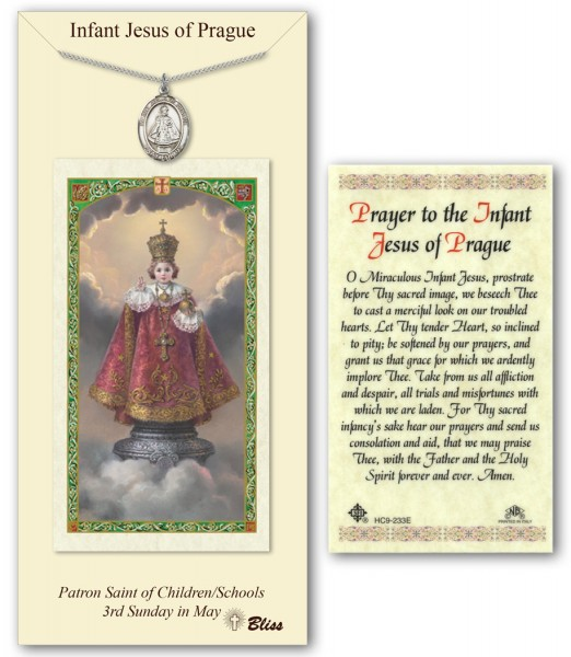 Infant of Prague Medal in Pewter with Prayer Card - Silver tone