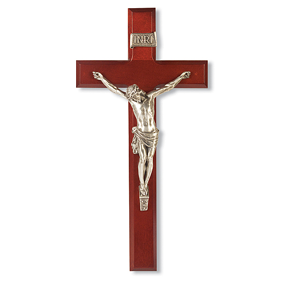 Dark Cherry Crucifix  with Silver-tone Corpus - 12 inch - Cherry Wood