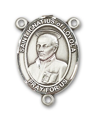 St. Ignatius of Loyola Rosary Centerpiece Sterling Silver or Pewter - Sterling Silver