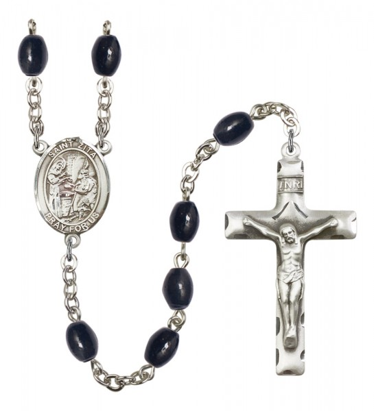 Men's St. Zita Silver Plated Rosary - Black Oval