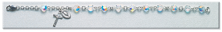 Rosary Bracelet - Sterling Silver with 6mm Semi-Flat Crystal Swarovski Beads - Crystal