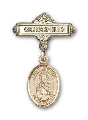 Pin Badge with St. Matilda Charm and Godchild Badge Pin - Gold Tone