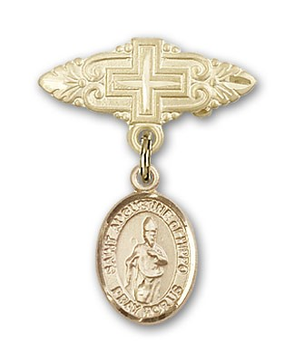 Pin Badge with St. Augustine of Hippo Charm and Badge Pin with Cross - Gold Tone