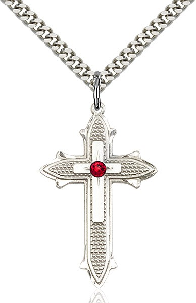 Large Women's Polished and Textured Cross Pendant with Birthstone Option - Ruby Red