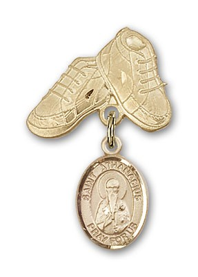Pin Badge with St. Athanasius Charm and Baby Boots Pin - 14K Solid Gold