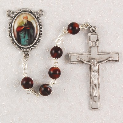 St. Matthew Brown Wood Rosary - Brown