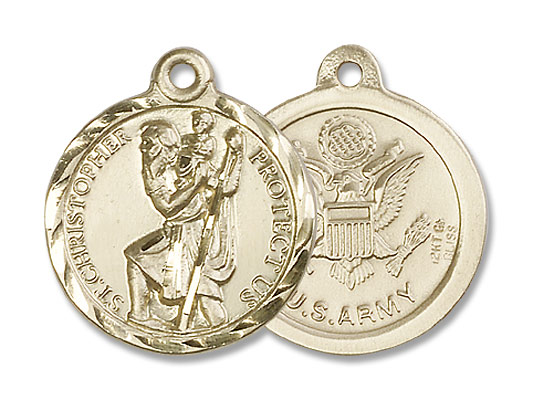 Army Saint Christopher Medal - 14K Yellow Gold