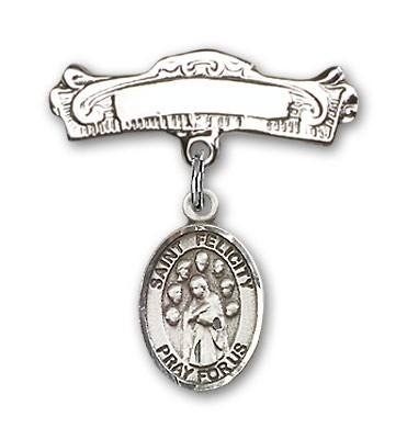 Pin Badge with St. Felicity Charm and Arched Polished Engravable Badge Pin - Silver tone
