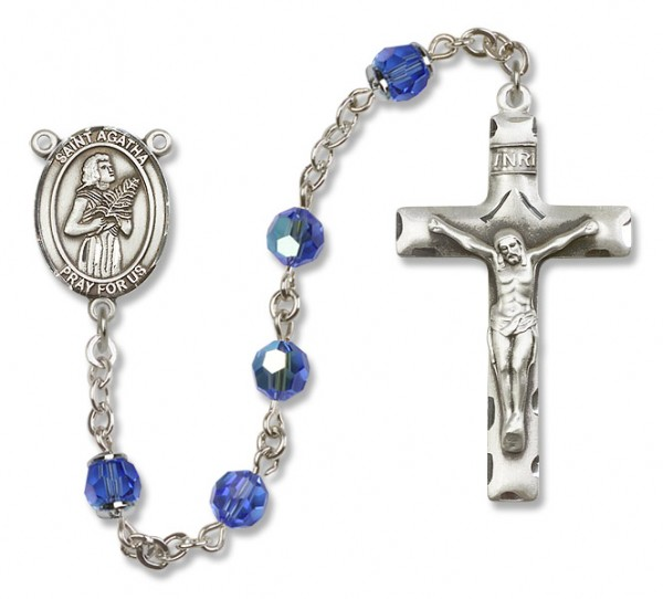 St. Agatha Sterling Silver Heirloom Rosary Squared Crucifix - Sapphire