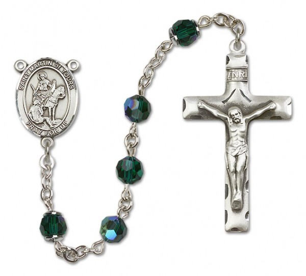 St. Martin of Tours Sterling Silver Heirloom Rosary Squared Crucifix - Emerald Green