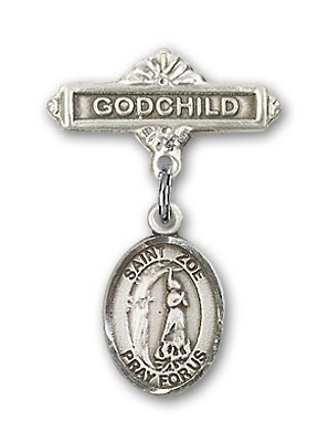 Pin Badge with St. Zoe of Rome Charm and Godchild Badge Pin - Silver tone
