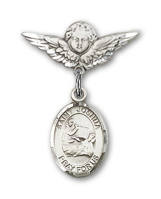 Pin Badge with St. Joshua Charm and Angel with Smaller Wings Badge Pin - Silver tone