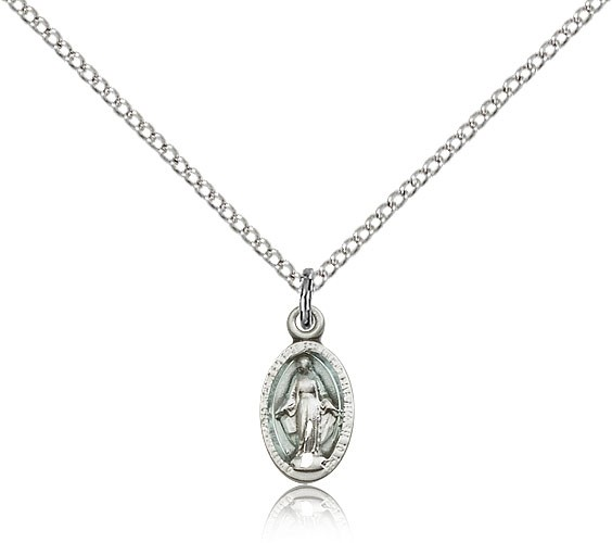 Youth Miraculous Medal Necklace - Silver | Blue