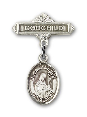 Pin Badge with St. Gertrude of Nivelles Charm and Godchild Badge Pin - Silver tone