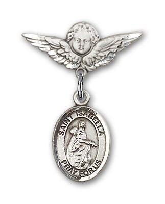 Pin Badge with St. Isabella of Portugal Charm and Angel with Smaller Wings Badge Pin - Silver tone
