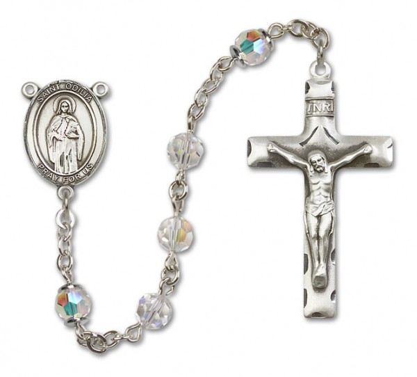 St. Odilia Sterling Silver Heirloom Rosary Squared Crucifix - Crystal