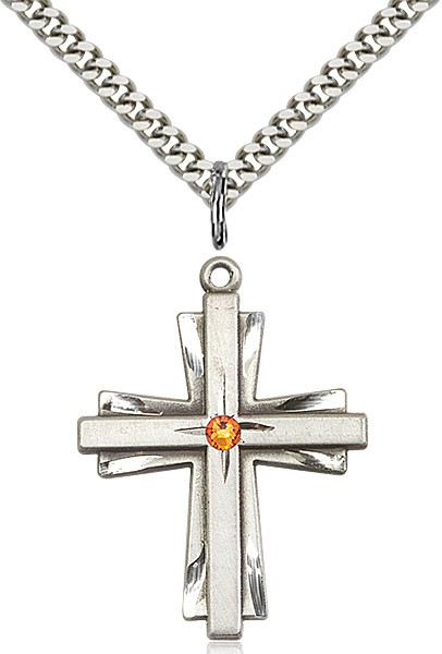 Large Women's Cross on Cross Pendant with Birthstone Options - Topaz