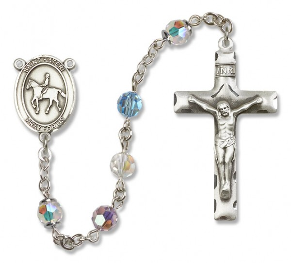 St. Kateri Rosary with Equestrian Heirloom Squared Crucifix - Multi-Color