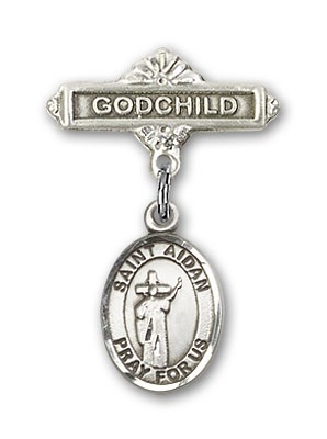 Pin Badge with St. Aidan of Lindesfarne Charm and Godchild Badge Pin - Silver tone
