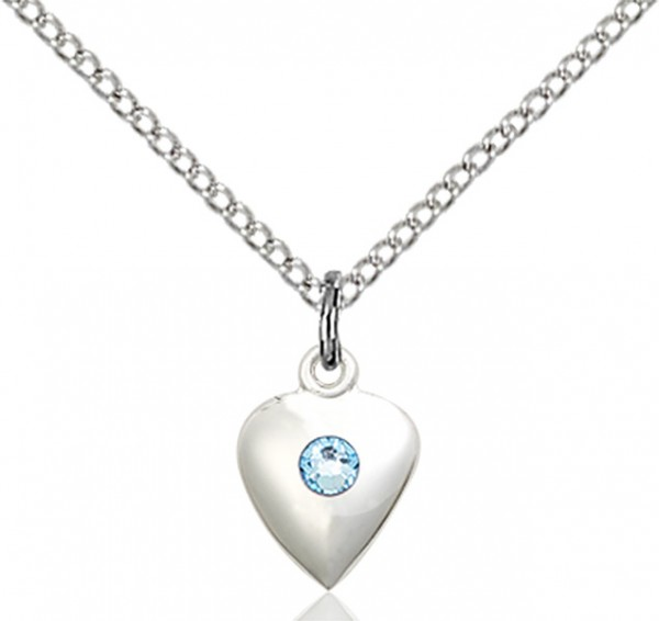 Baby Heart Pendant with Birthstone Options - Aqua