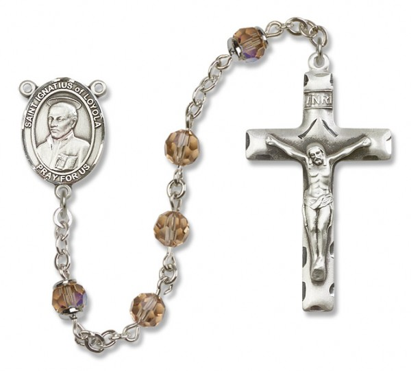 St. Ignatius of Loyola Sterling Silver Heirloom Rosary Squared Crucifix - Topaz