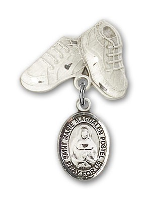 Baby Badge with Marie Magdalen Postel Charm and Baby Boots Pin - Silver tone