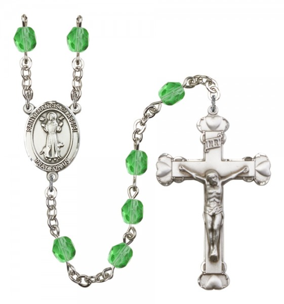 Women's St. Francis of Assisi Birthstone Rosary - Peridot
