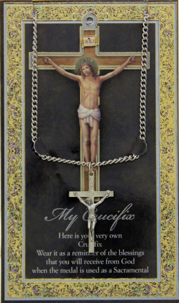 Crucifix Medal in Pewter with Bi-Fold Prayer Card - Silver tone
