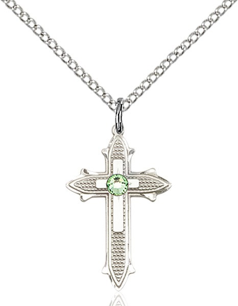 Polished and Textured Cross Pendant with Birthstone Options - Peridot