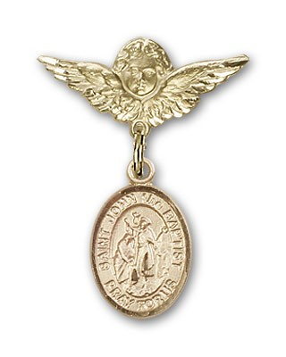 Pin Badge with St. John the Baptist Charm and Angel with Smaller Wings Badge Pin - 14K Solid Gold
