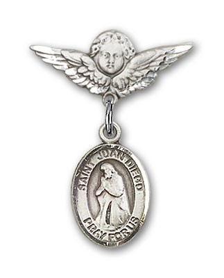 Pin Badge with St. Juan Diego Charm and Angel with Smaller Wings Badge Pin - Silver tone