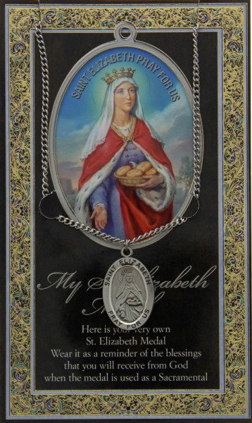 St. Elizabeth of Hungary Medal in Pewter with Bi-Fold Prayer Card - Silver tone