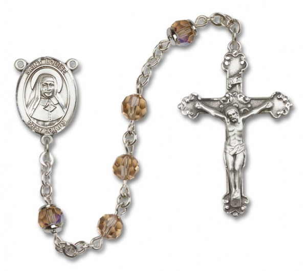 St. Louise de Marillac Sterling Silver Heirloom Rosary Fancy Crucifix - Topaz